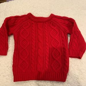 """ Baby Gap""  cable knit sweater size 3T red"